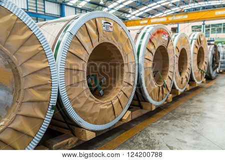Cold rolled steel or silicon steel coils in storage area in warehouse or in factory