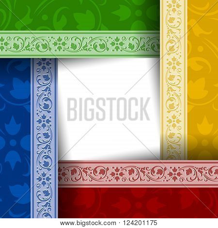 Colorful ornamental document template in vintage style
