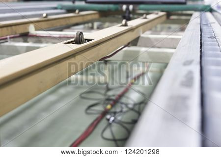 conveyor line assembly packing, belt, factory, production ** Note: Shallow depth of field