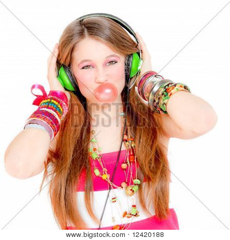 teen blowing gum and listening music