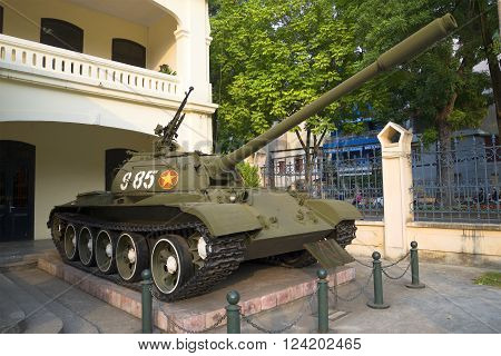 HANOI, VIETNAM - JANUARY 09, 2016: Soviet tank T-54B in the city of Hanoi. The historic landmark of the city of Hanoi, Vietnam