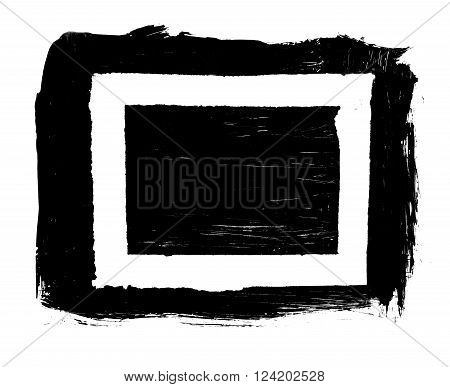 Grunge distressed paintbrush strokes background rectangle frame element illustration