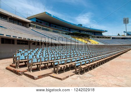 Montevideo, Uruguay - December 15, 2012: Stands for fans at the Centenario Football Stadium - illustrative editorial - Built for the first World cup in 1930 the stadium is the home of the Uruguayan football team.