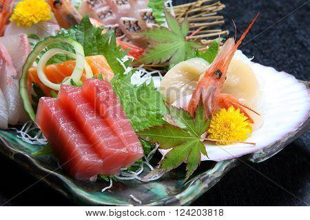 close up shot of fresh SASHIMI plate