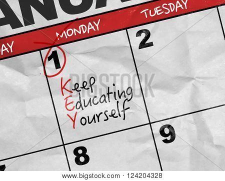 Concept image of a Calendar with the text: Keep Educating Yourself