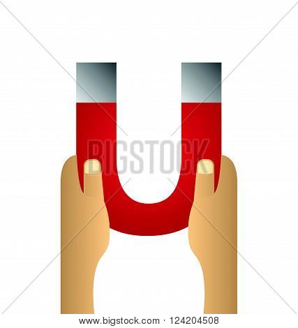 Hand holding magnet on white background vector