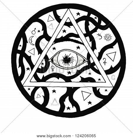 All seeing eye pyramid symbol in tattoo engraving design. Vintage hand drawn freedom, spiritual, occultism and mason sign in doodle style.  Eye of providence illustration.