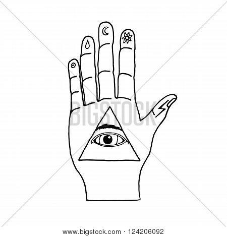Sunburst, hand, ornaments and all seeing eye symbol. Illuminati symbols