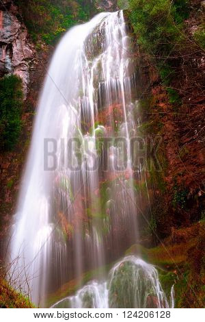 Long exposure photography waterfall forest mountains and vibrant colors