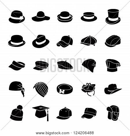 Different styles on hats glyph vector icons