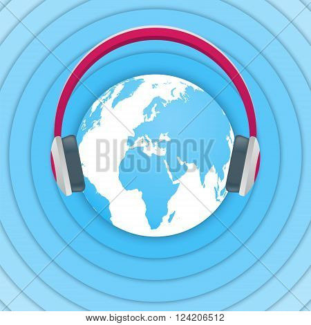 World Amateur Radio Day. Blue and white vector illustration with a globe headphones and radio waves. Radio broadcasting.