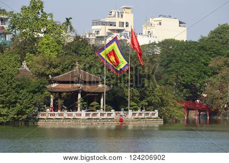 HANOI, VIETNAM - JANUARY 10, 2016: Temple of the Jade Mountain closeup. Sword Lake. The historic landmark of the city of Hanoi