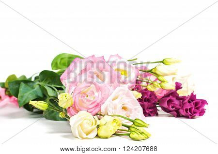 Beautiful lisianthus bouquet on the lihgt backgroung