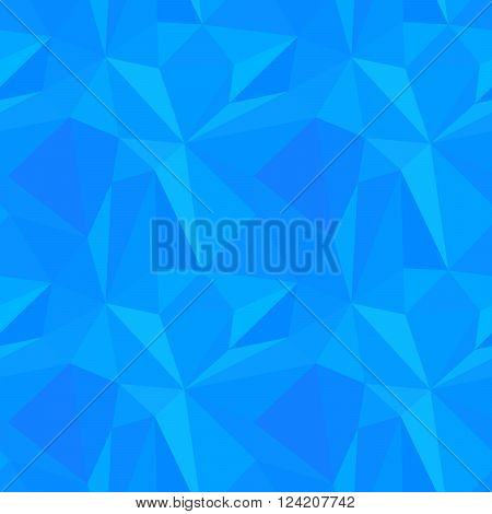 Abstract cold blue color triangulated seamless pattern