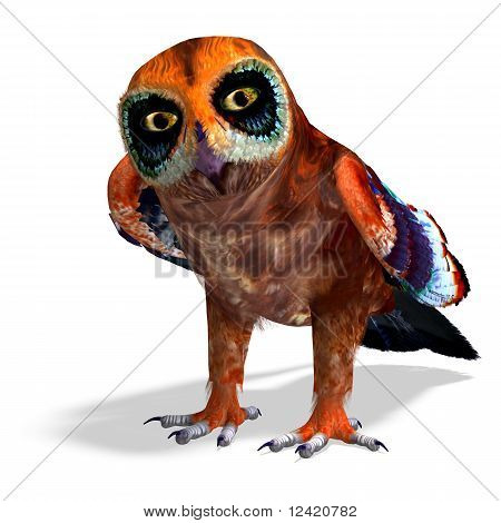 fantasy owl with rainbow colors