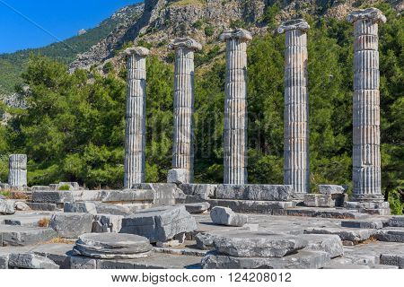 Temple of Athena, Ruins of ancient Priene, Aydin Province, Turkey