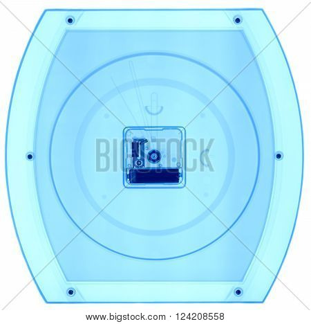 Wall clock under X-rays in blue tones. Rontgen, fluoroscopic image.