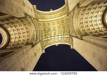 Night time at the bottom of Arc de Triomphe