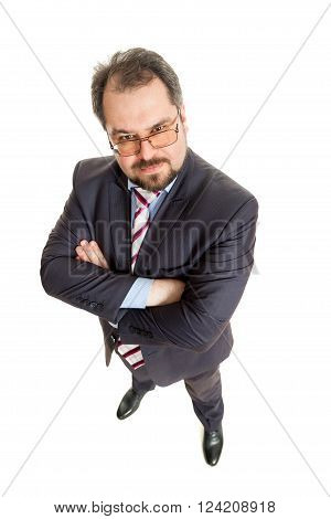 the adult man in a suit costs on a white background