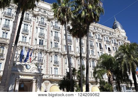 Cannes, France - September 18, 2013: Landscape view of the front entrance of the Carlton International Hotel situated on the croisette boulevard in Cannes, France