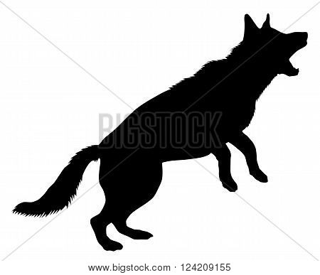 A silhouette of a German Shepherd dog, in active pose