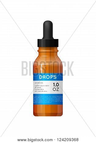 Medicine glass bottle with labels. Bottle with pipette for drops. Pharmaceutic container isolated on white background