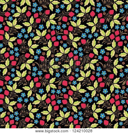 Vector illustration of seamless pattern with traditional russian floral ornament.Khokhloma.