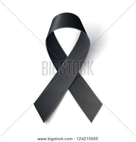 Realistic black ribbon melanoma awareness symbol isolated on white. Vector illustration eps10.