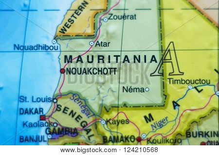 Photo of a map of Mauritania and the capital Nouakchott .