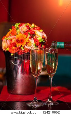 Wedding beutiful details, champagne in two glasses ** Note: Shallow depth of field