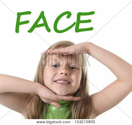 6 or 7 years old little girl with blond hair and blue eyes smiling happy posing isolated on white background showing face in learning English language school education body parts card set