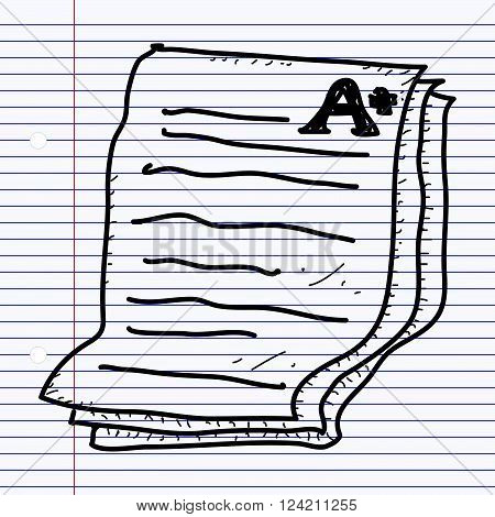 Simple Doodle Of An Exam Paper Showing A Plus