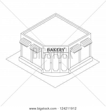 Isometric Bakery. Linear style. Black and white. Little shop of pastries. Your own small business. Pastries and baked goods. Flat isometric. Vector illustration.
