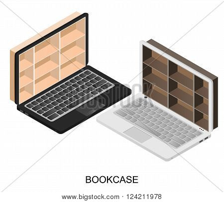 Online library. Laptop with bookshelves. Storefront for online store. Bookcase in light and dark colors. Shelves for exhibitions . Vector illustration.
