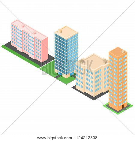 Set of isometric buildings. Houses and high-rise offices. The modern architecture. Townhouses. Vector illustration.