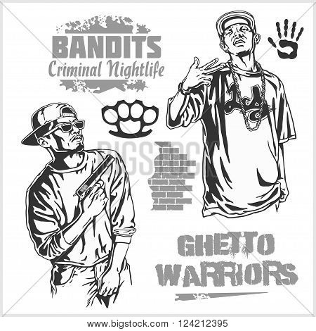 Bandits and hooligans - criminal nightlife. Vector illustration isolated on white.