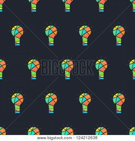 Light seamless pattern. Color the idea. Creative idea. Bright multi-colored incandescent lamp. Insight. The original thought. Black background. Vector illustration.