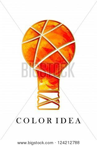Color idea. Creative idea. Bright orange bulb. Watercolor light. Insight. The original thought. Isolated on white background. Vector illustration.