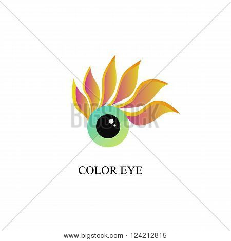 A creative logo. Colored eye. Eyelashes - petals. Round black pupil. The color of the rainbow. Icon for design. Vector illustration.