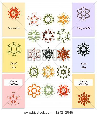 A set of six templates. Fifteen abstract floral icons. Pastel colors. Design invitations for wedding birthday save the date. Vector illustration.
