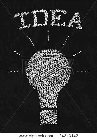 Creative idea. Doodle light bulbs. Drawing with chalk on black Board. Sloppy sketch design. Insight. Vector illustration.