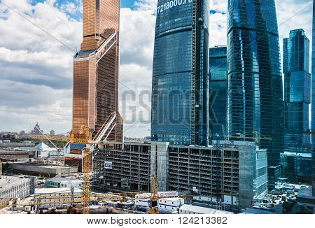 MOSCOW. RUSSIA - JUNE 5, 2015: Skyscrapers of Moscow city business center closeup. Moscow International Business Center also referred to as Moscow-City is commercial district in central Moscow, Russia
