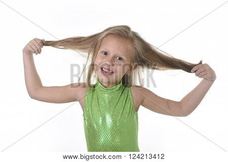 6 or 7 years old little girl with blue eyes smiling happy posing isolated on white background pulling her blond hair in language lesson for child education and body parts school chart serie