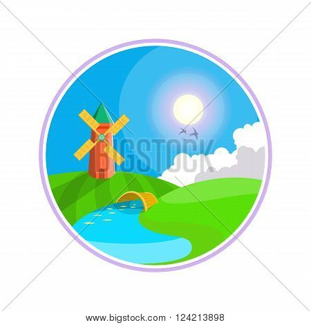Rural landscape. Hills, clouds on the sky, windmill near the river. Windmill illustration icon.