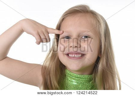 6 or 7 years old little girl with blond hair and blue eyes smiling happy posing isolated on white background pointing eyebrow in language lesson for child education and body parts school chart serie