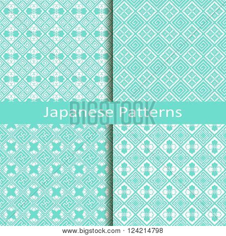 vector set of four traditional blue japanese patterns
