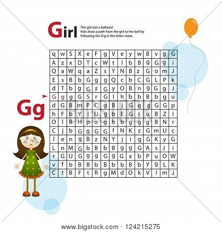 Letter Maze G. This worksheet helps kids recognize and name capital and lowercase letters. Kids also exercise thinking skills and fine motor skills as they navigate the maze. The girl and balloon.