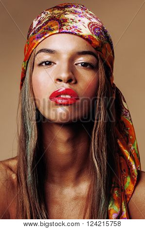 beauty young afro american woman in shawl on head smiling close up swag, modern lifestyle concept