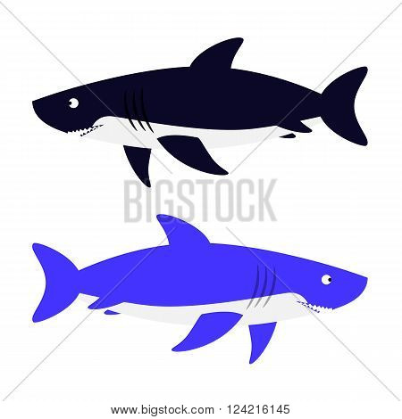 Two Sharks vector illustration isolated on a white background