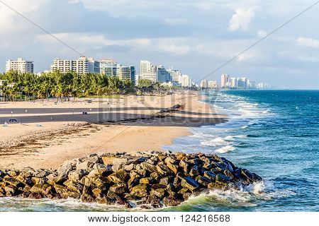 Resort town of Fort Lauderdale Florida with beach
